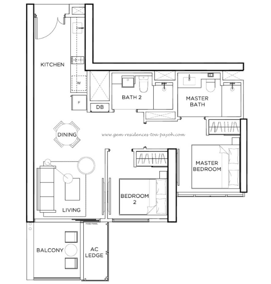 2 Bedroom Type B3 678sqft